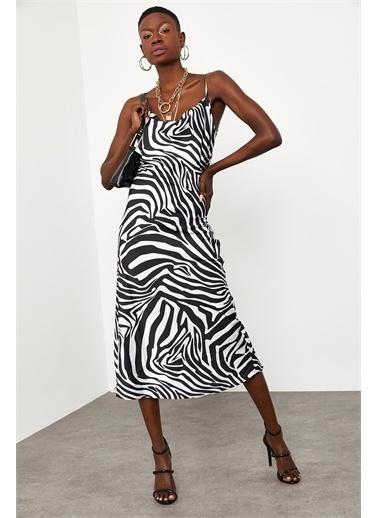XHAN Siyah & Beyaz Zebra Desenli Saten Midi Elbise 1Kxk6-44829-86 Siyah